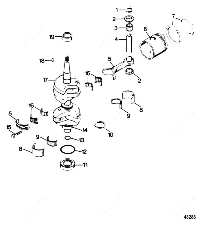 Mercury Force 35 H.P. 1987, Crankshaft and Piston Group