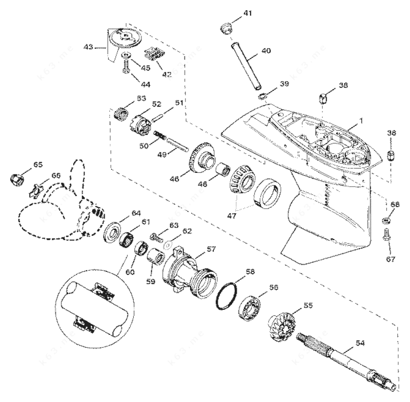 Mercury Force 40 H.P. 1997, Gear Housing Assembly