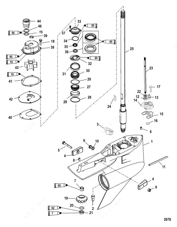 Mercury/Mariner 250 Pro XS 3.0l DFI, Gear Housing Drive