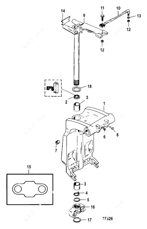 Mercury/Mariner 125 4 Cyl., Swivel Bracket and Steering