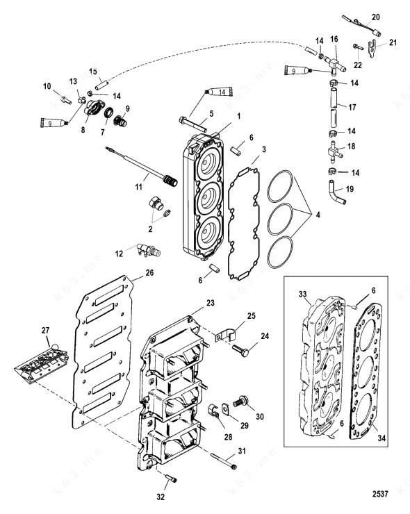 Mercury/Mariner V-150, Reed Block and Cylinder Head