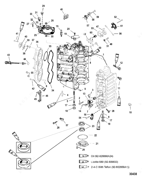 Mercury/Mariner 225 DFI, Cylinder Block and End Cap