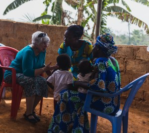 Mary Jane Oakland counsels mother in Beposo, Ghana
