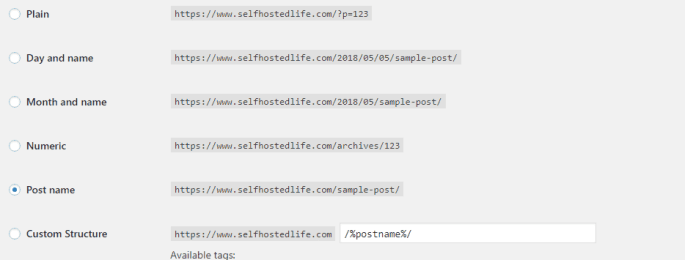 parmalink structure for installing wordpress