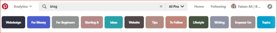 Pinterest Algorithm and search bar showing the blooging keywords