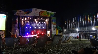 Evening rest in front of the podium in the Olympic Park