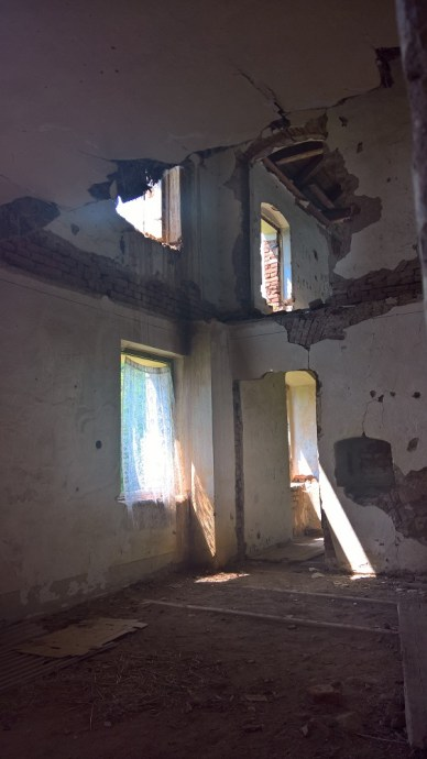 Interior of the barn in the former village of Skoky