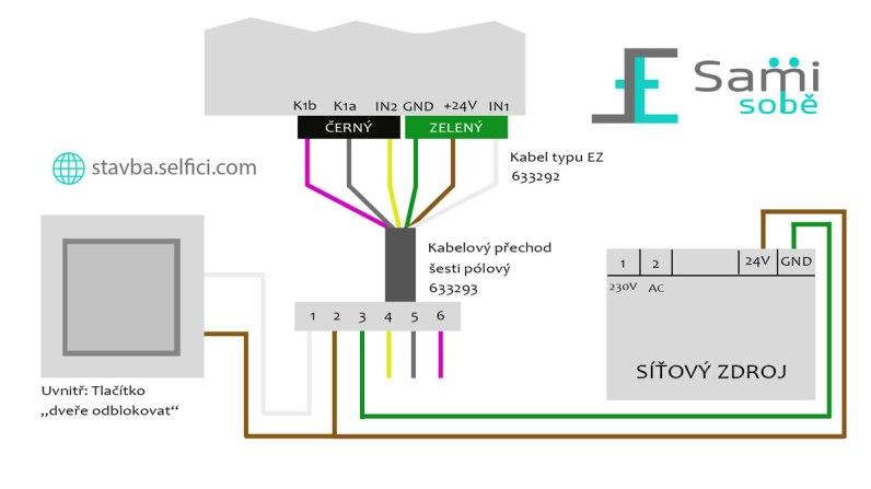 Schéma zapojení elektronického zámku Roto