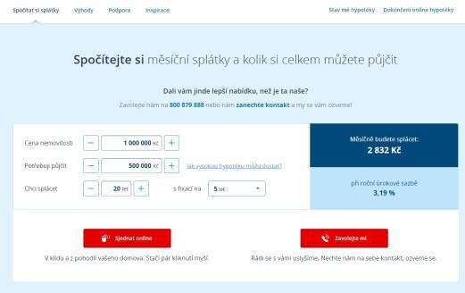 Hypoteční kalkulačka České spořitelny