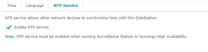Nastavení časového serveru na Synology NAS