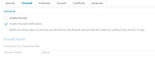 Nastavení firewallu Synology NAS