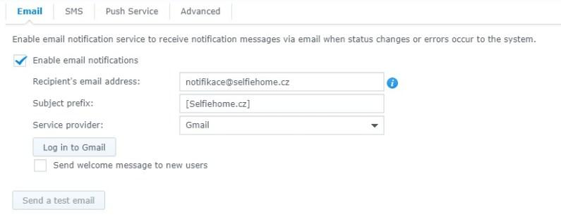 Nastavení emailových notifikací na Synology NAS