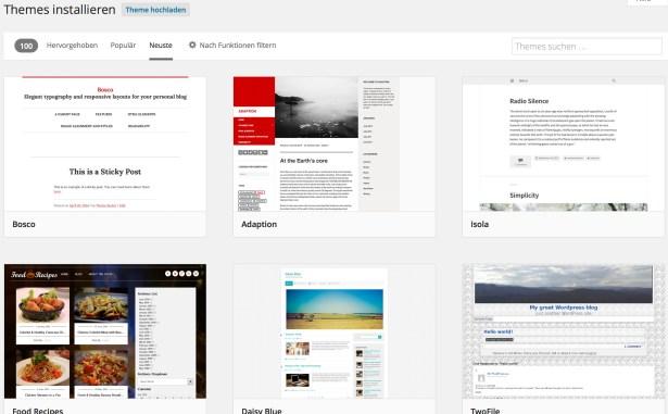 Kostenlose Themes von WordPress.org