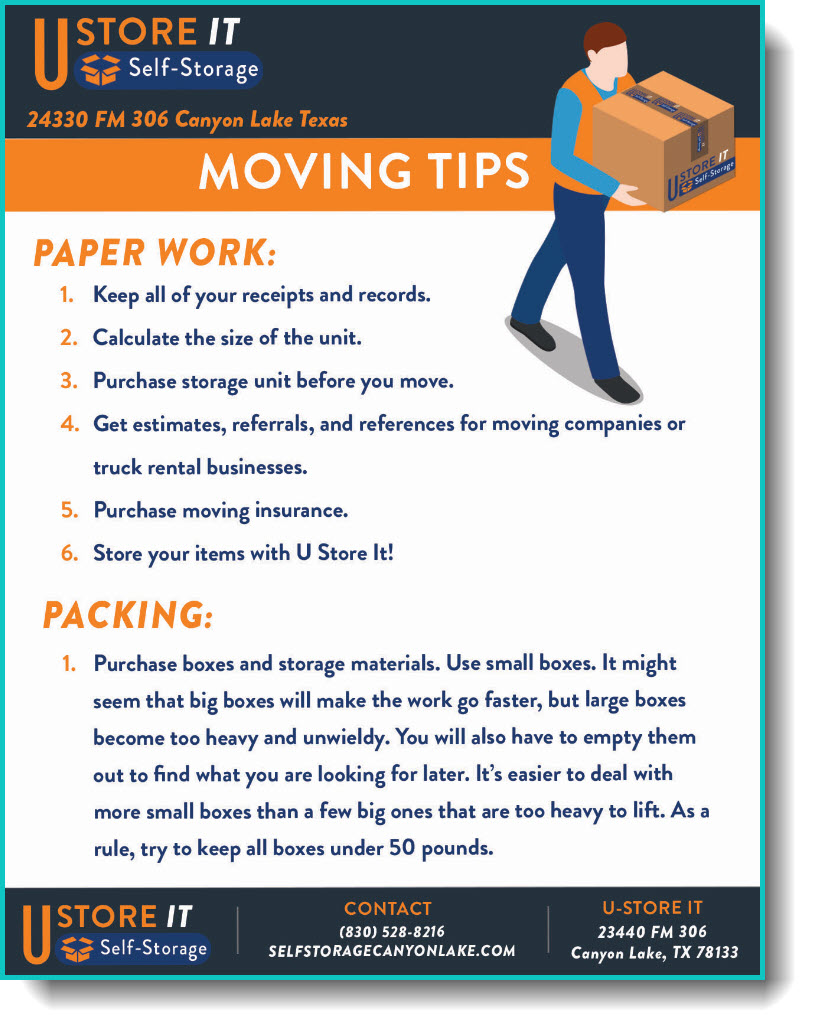 Self stoage moving tips - paperwork and paking.