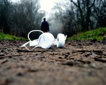 Headphones on Walking Path