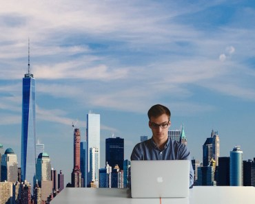 Man Working Laptop Big City