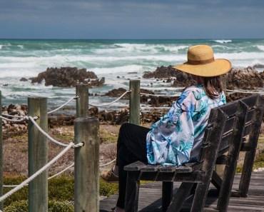 Woman Sitting Bench Ocean