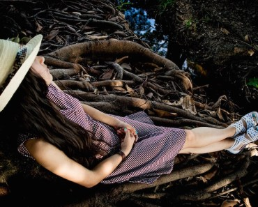 Woman Lounging Forest Roots