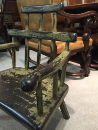 A Delightful Painted Primitive Childs Chair In Good ...