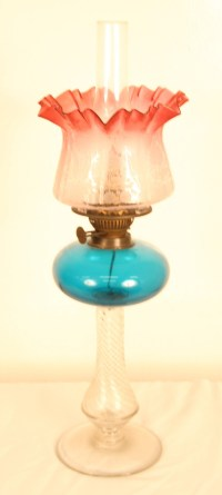 Victorian Oil Lamp With Cranberry Glass Shade