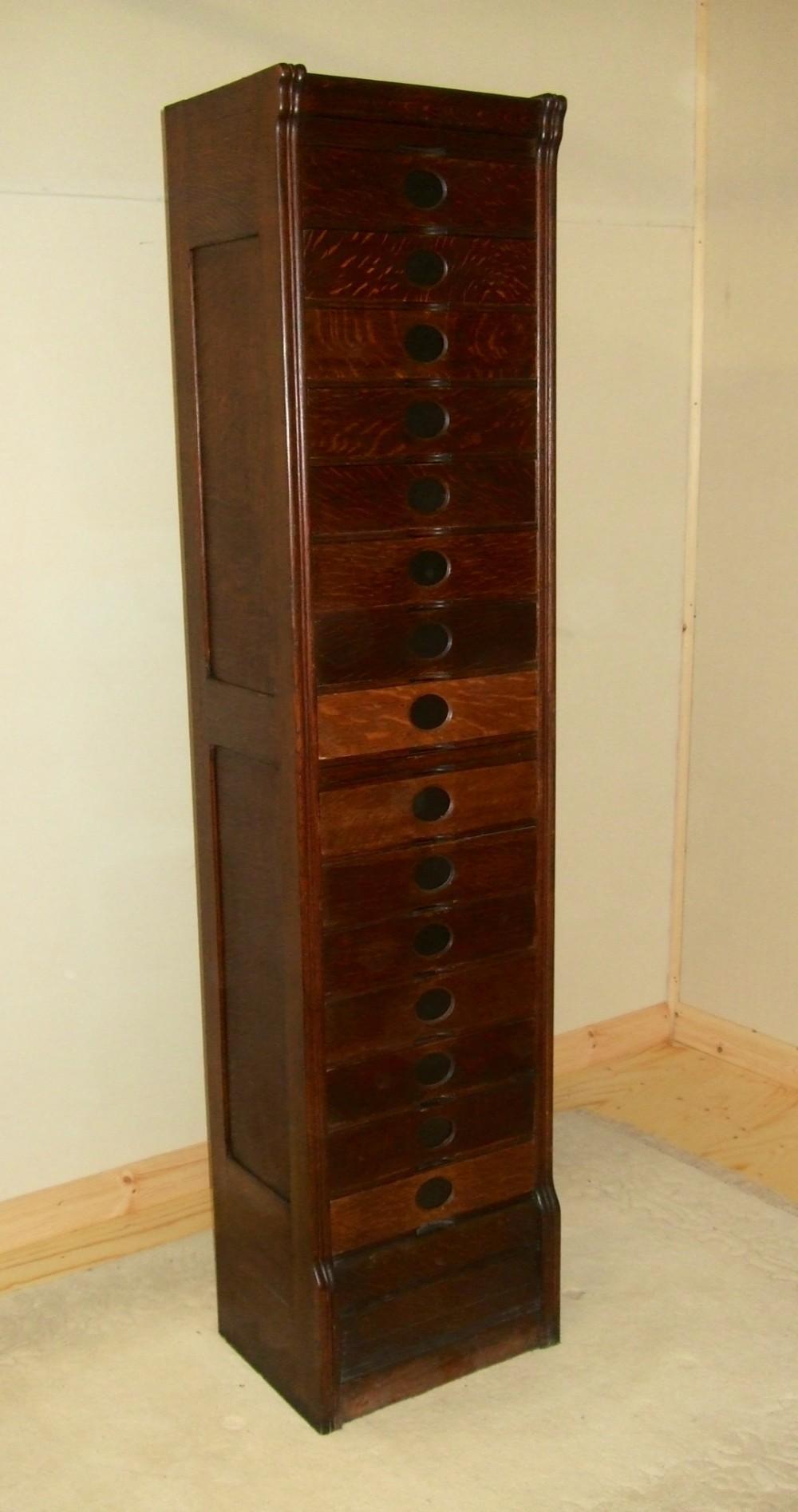 Very Narrow  Tall Amberg Oak Filing Cabinet Drawers
