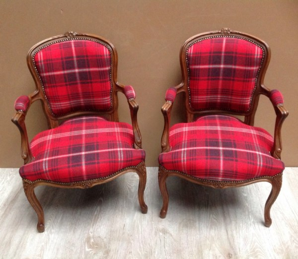 Plaid Upholstered Chair with Fabric