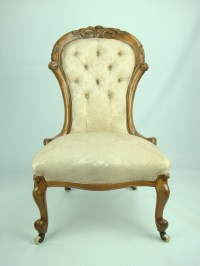 Antique Victorian Walnut Button Back Nursing Chair