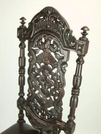 Pair Antique Victorian Gothic High Back Oak Chairs ...