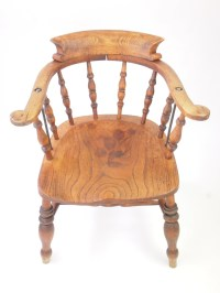 Antique Victorian Desk Chair/ Elm Smokers Bow / Captains