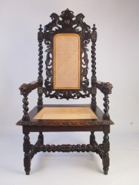 Large Antique Victorian Gothic Revival Throne Chair ...
