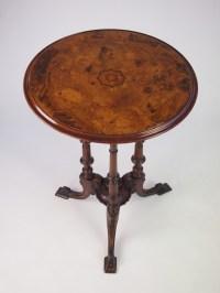 Fine Antique Victorian Burr Walnut Tripod Lamp Table ...