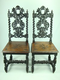 Pair Of Victorian Gothic High Back Chairs