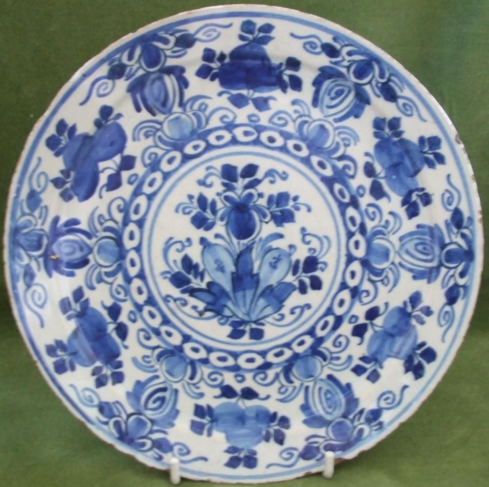 Antique Dutch Blue And White Delftware Plate