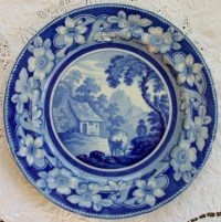 Antique English Georgian Blue And White Transfer The