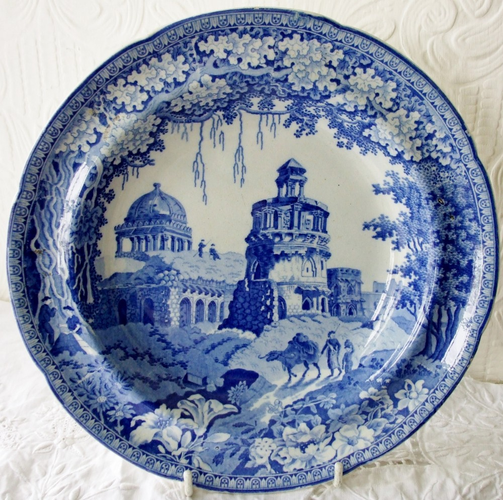 Antique English Georgian Blue And White Transfer