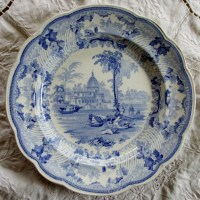 Antique English Georgian Blue And White Transfer Surseya
