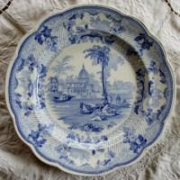 Antique English Georgian Blue And White Transfer Surseya
