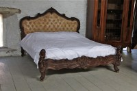 Elaborate Carved Rococco Style Dark Wood Frame Upholstered ...