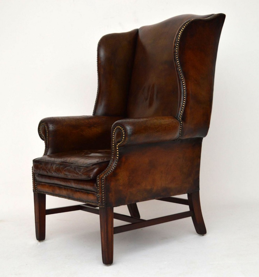 distressed leather armchair uk office chairs houston texas antique wing back 288998