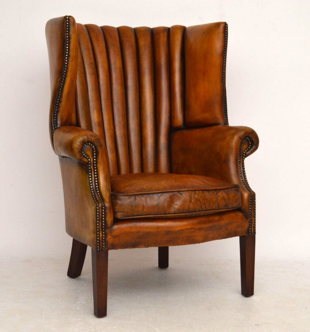 Antique Leather Ribbed Back Wing Armchair  301762