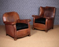 Pair Bothy Type Leather Armchairs C.1920.