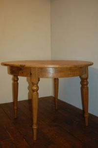 Antique Swedish Round Pine Dining Table / Kitchen Table ...