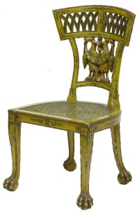 Early 19th Century Carved Painted Biedermeier Cane Seat ...