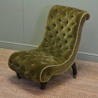 Unusual Victorian Upholstered Antique Slipper Side Chair ...