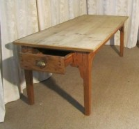A Large French Pine Scrub Top Farmhouse Kitchen Table ...