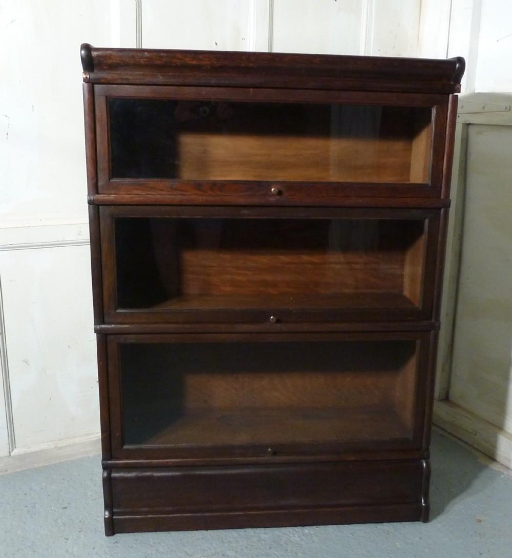 A 3 Stack Oak Globe Wernicke Barristers Bookcase 0r Filing