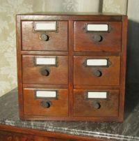 Medium Oak 9 Drawer Card Index Filing Cabinet Wine Rack ...