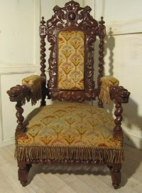 Stunning Victorian Gothic Carved Oak Throne Chair | 260177 ...