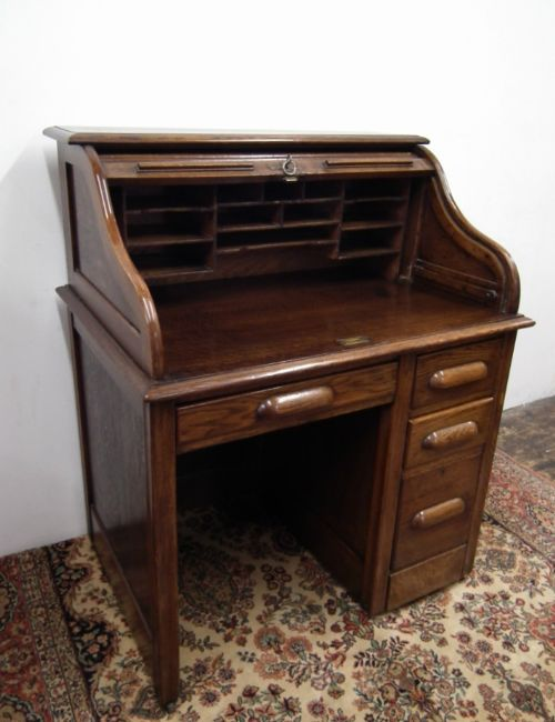 Small Oak Roll Top Desk  177666  Sellingantiquescouk
