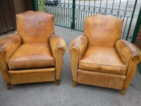 Pair Of 19th Century French Tan Leather Armchairs | 236087 ...